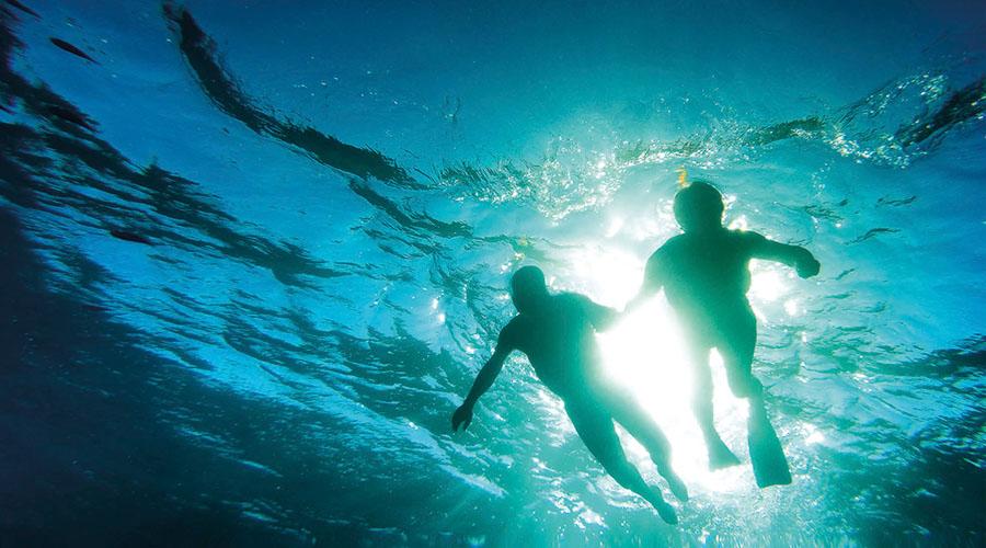 Couple swimming